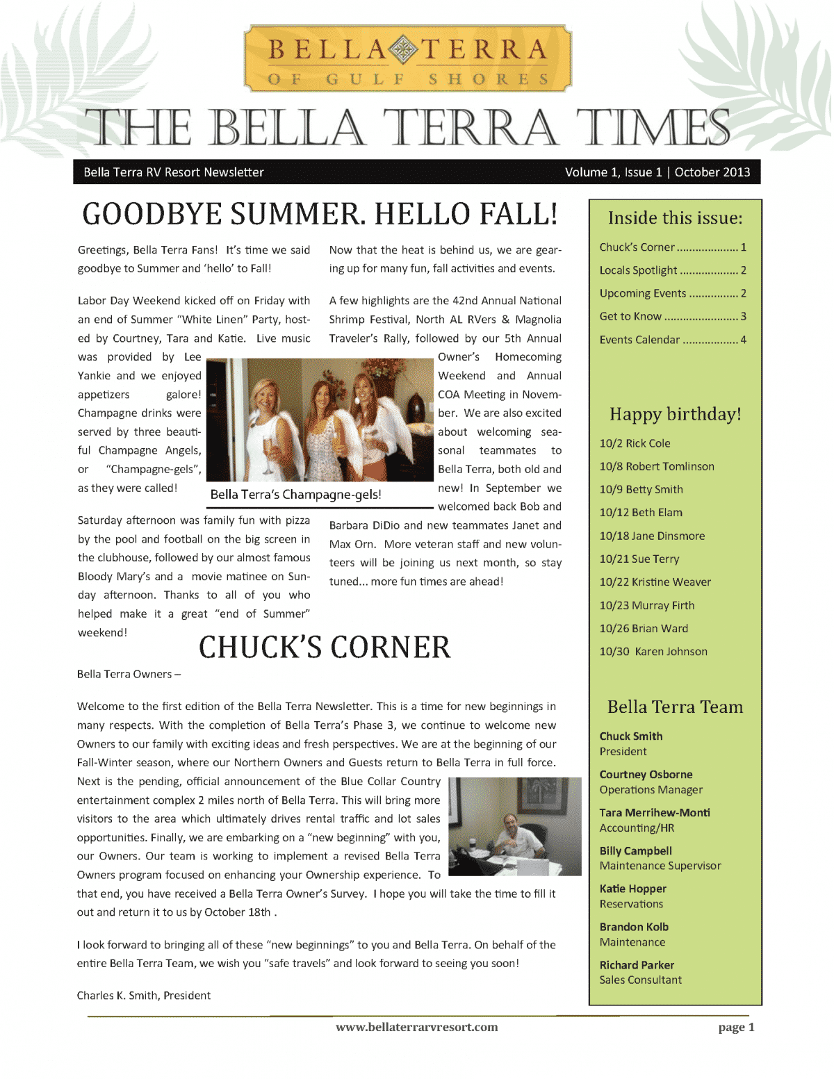 Bella Terra Newsletter Cover Page October 2013