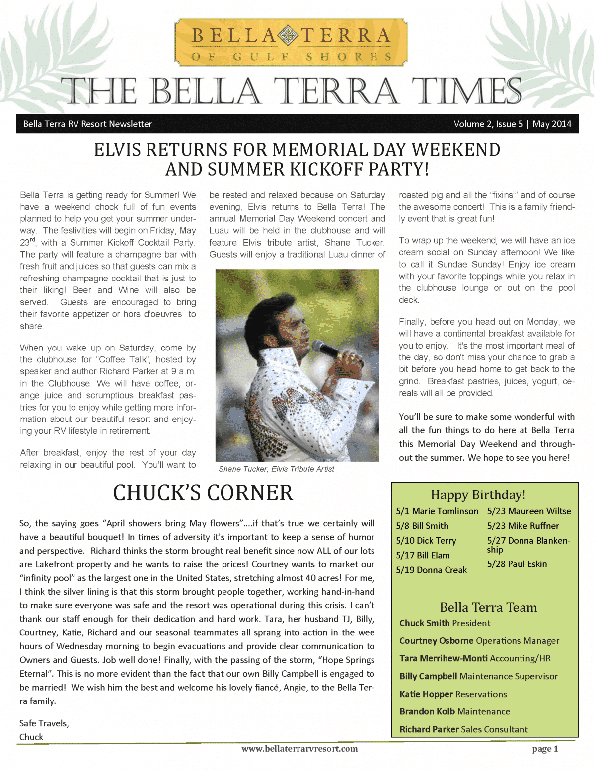 Bella Terra Newsletter Cover Page May 2014