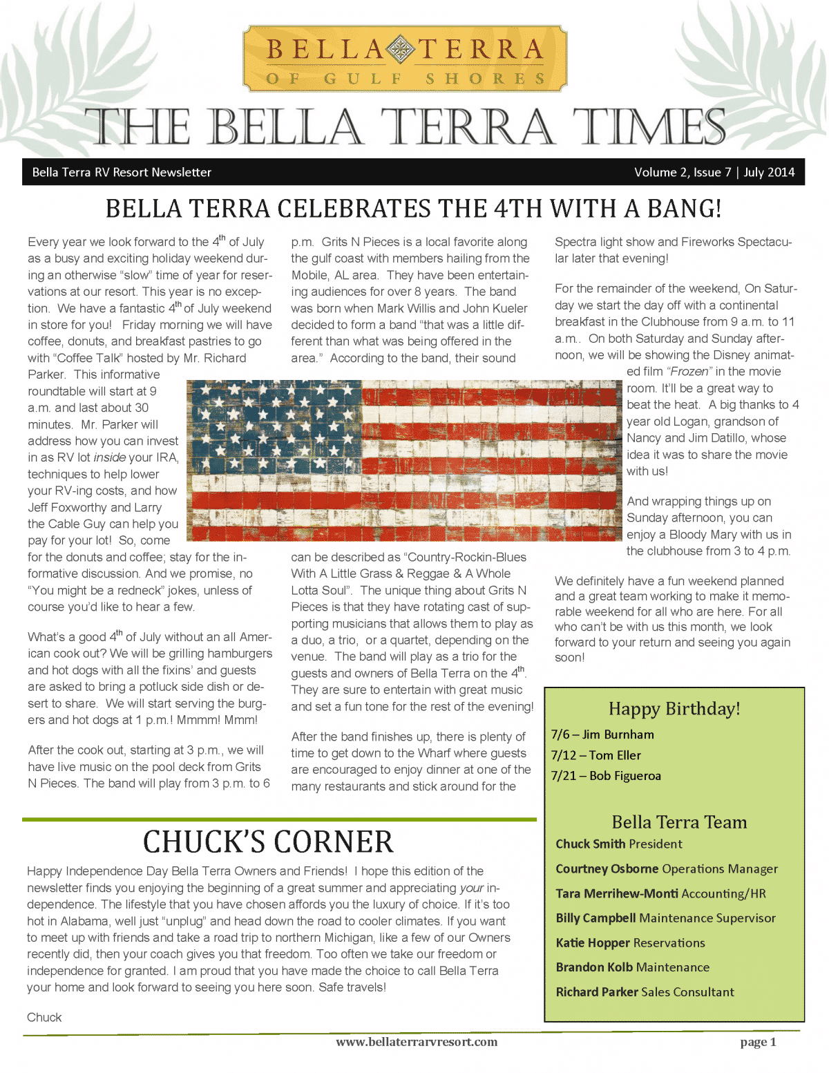 Bella Terra Newsletter Cover Page July 2014