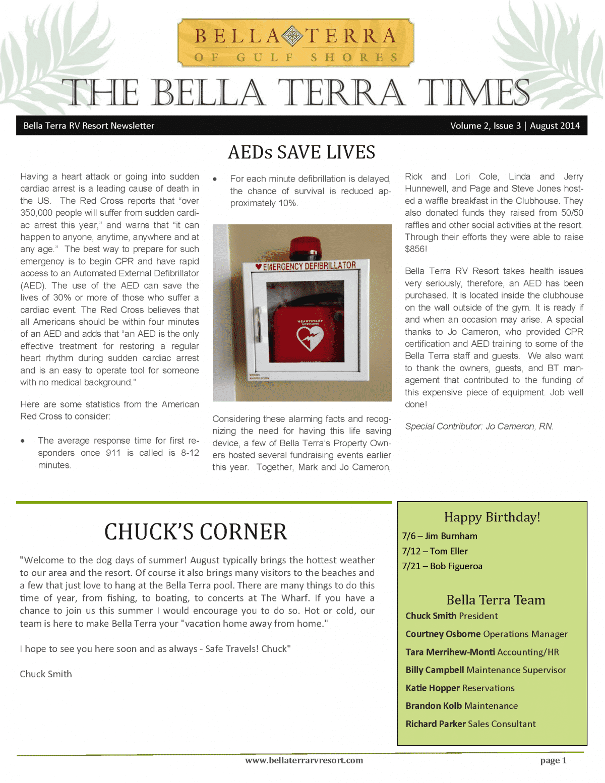 Bella Terra Newsletter Cover Page August 2014