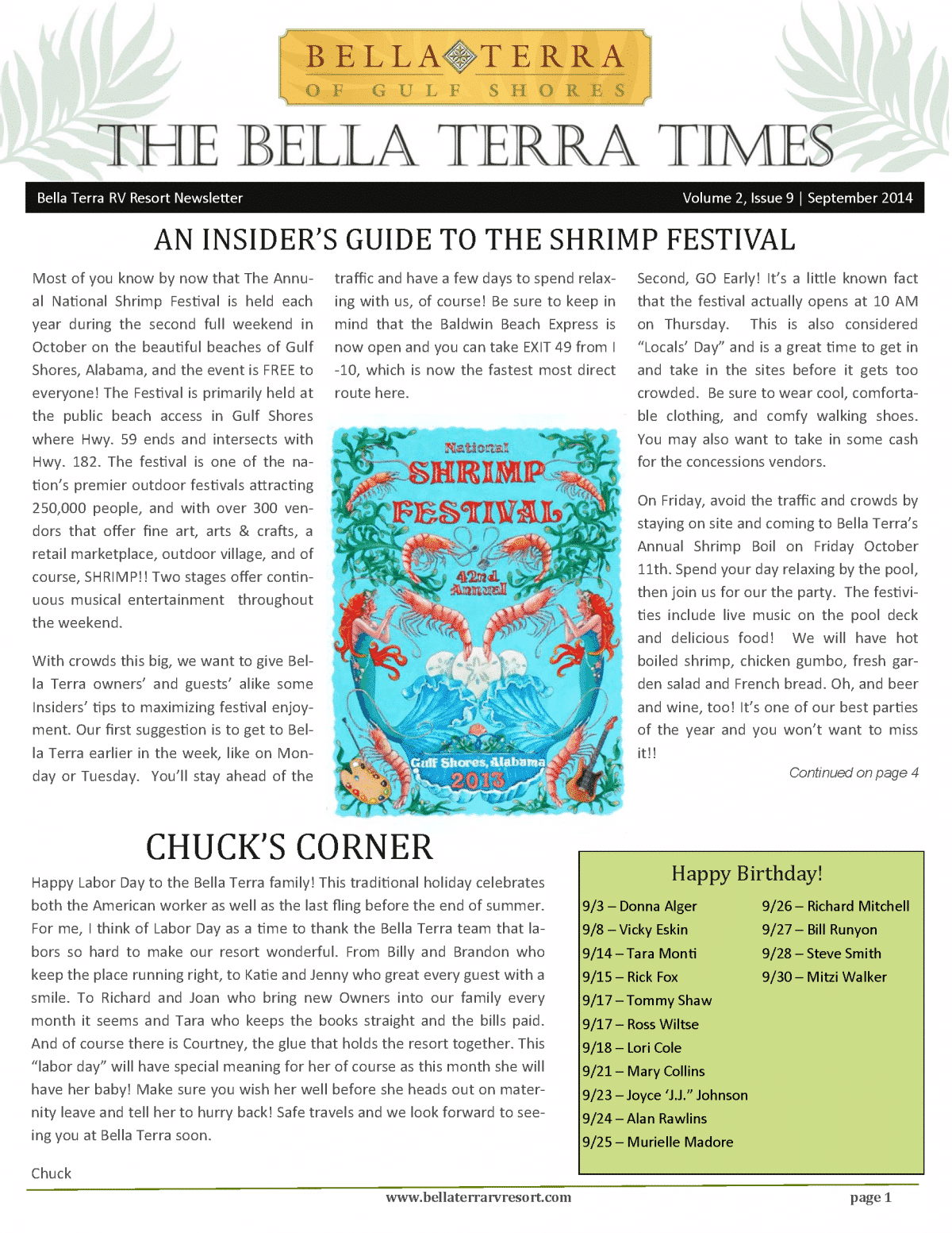 Bella Terra Newsletter Cover Page September 2014