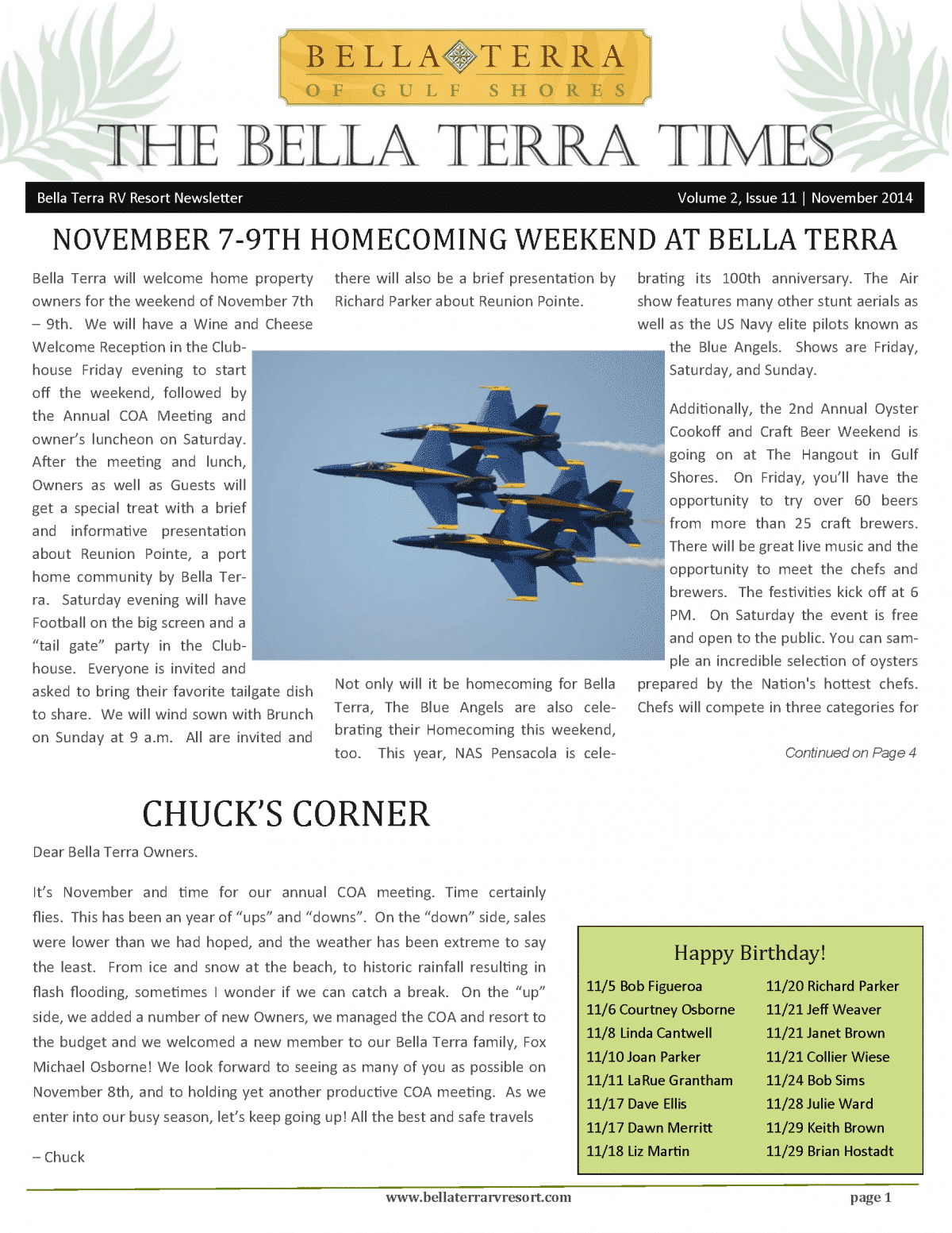 Bella Terra Newsletter Cover Page November 2014