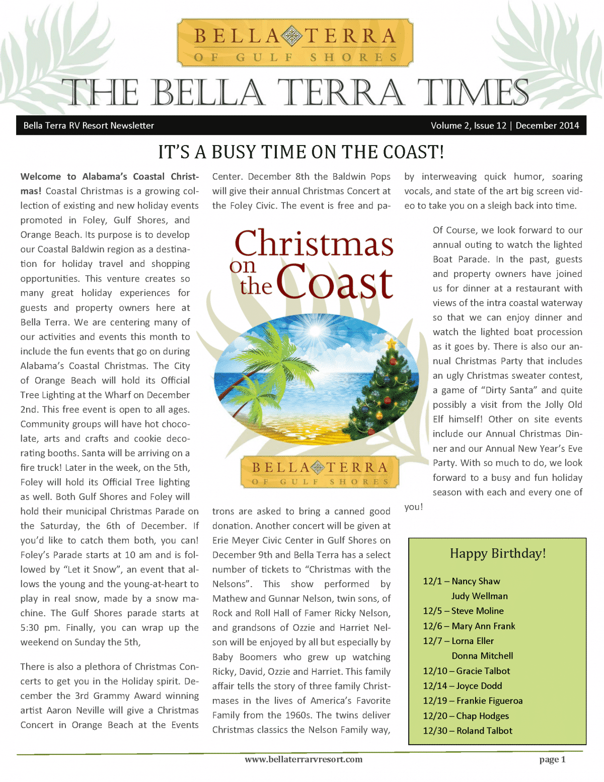 Bella Terra Newsletter Cover Page December 2014