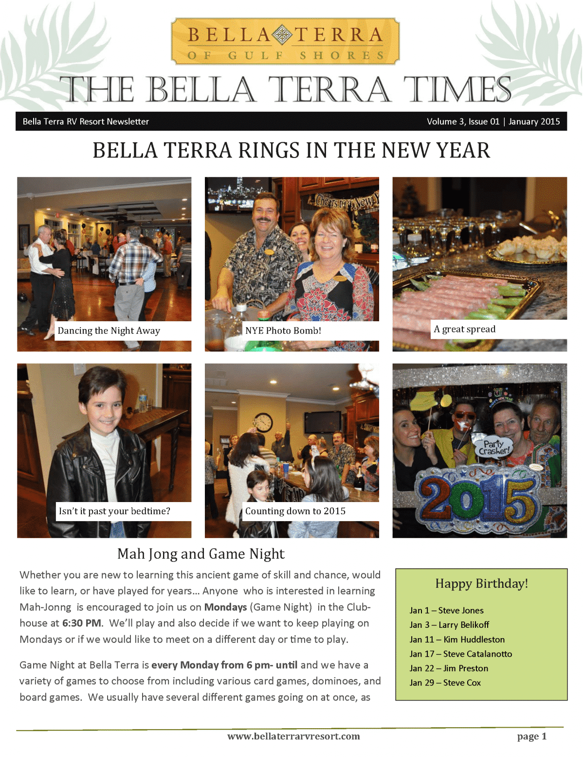 Bella Terra Newsletter Cover Page January 2015
