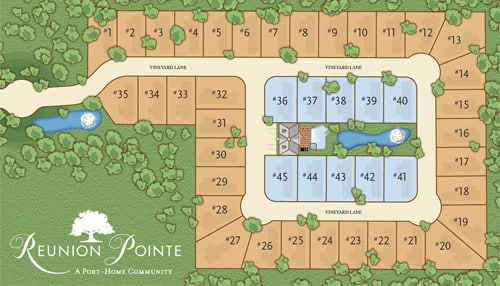 Reunion Pointe by Bella Terra lot plan for the RV Port-Home community