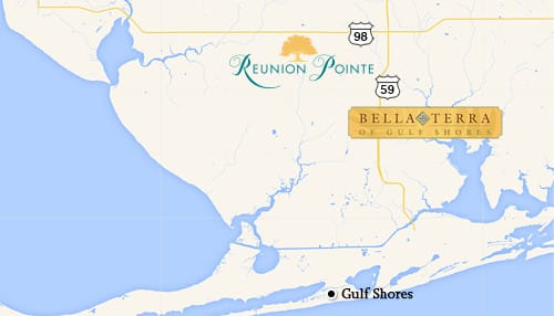 Reunion Pointe is located only 7 miles from Bella Terra of Gulf Shores